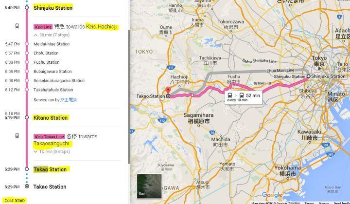 train map to Mt takao